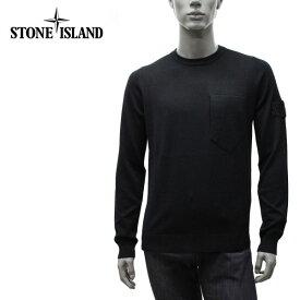 【2020-21AW】ストーンアイランド ワッペン+ポケット付き クルーネックセーター【ブラック】505A4 V0029/STONE ISLAND/m-tops