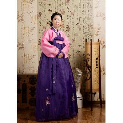 【送料無料】ハロウィン仮装韓国民族衣装チマチョゴリM・Lサイズピンク×紫5002-4