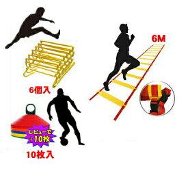 トレーニング ミニハードル 組立式 6個 ラダー6m マーカーコーン 10枚セット 高さ4段階調節式 ミニハードル 6台 キャリーバッグ付 トレーニングラダー 6m マーカーコーン 10枚 スピード 卒業 陸上 競技 野球