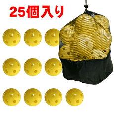 野球練習穴あきボール25個セット専用袋付き