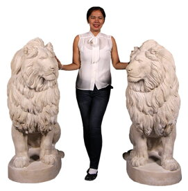 ビッグサイズ・フィギュア【出迎える ライオン 一対】等身大フィギュア