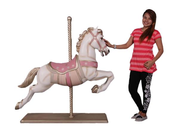 白馬 メリーゴーランド 馬 ホワイト(等身大フィギュア)