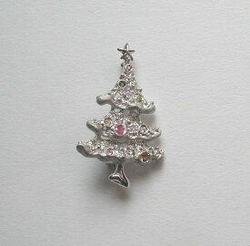 【クリスマス】【パーティー】にクリスマスツリーのシルバーブローチ【シルバー925】 【ルビー】、【ブルートパーズ】、【ペリドット】、【シトリン】、【トルマリン】が煌めくツリーです S1092