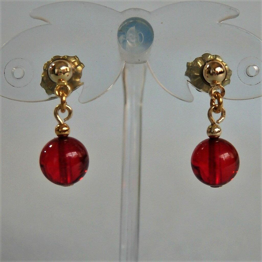 魅惑の赤いアクセサリー レッド・アンバー/赤色コハクのFDAピアス 金色ボール 金と赤のコントラスト TF-1280  【ピアス】【金属アレルギー対応】【コハク】【アンバー】【琥珀】【チタン】【赤】