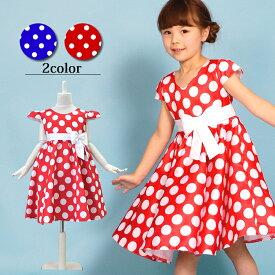 赤白ドットの水玉ドレス こどもドレス コスチュームドレス 女の子ワンピース テーマパーク キッズダンス 団体衣装 チュチュスカート パニエ110/120/130/140/150/160赤白ドット