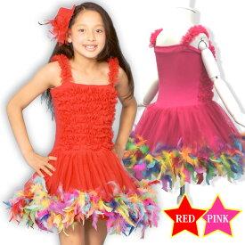 ダンス 衣装 ヒップホップ 豪華なカラフル羽付きふわふわチュールワンピースコスチューム ダンス キッズ チュチュ カラー パニエ パレード 子供ダンス衣装