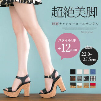 I prepare for size / black white gray denim black and white /22cm 25.5cm/ which the size that sandals 12cm thick-soled heteromorphic chunkey heel belt spring and summer thickness bottom high-heeled shoes large heel storm snap button cushion synthetic lea