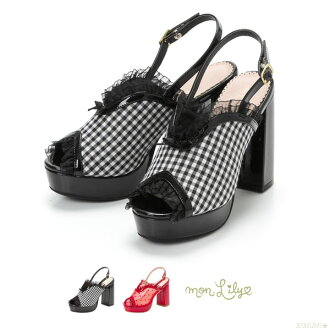 It is stake white red black white red black S M L Lady's dream prospects 0525 ◆ 5/29 shipment plan for the stylish fatigue that sandals see-through dot gingham V line frill a bit big heel belt opening toe strap has a cute