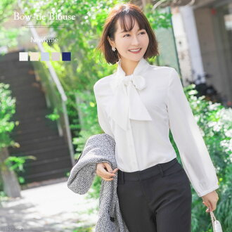 Blouse bow tie Georgette suit inner four circle office fashion business suit white ivory sax gray navy light blue plain fabric S M L LL Lady's dream prospects 0107 in the fall and winter