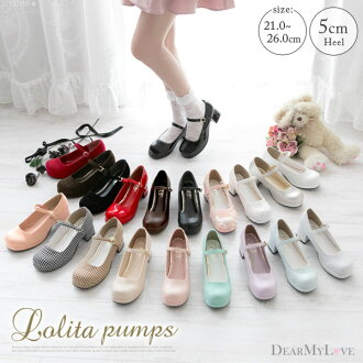 Size black brown beige white pink blue lavender gray red gold black and white blue red 21cm 21.5cm 22.5cm 1218 ◆ 01/25 shipment plan when the small size that Gurley who does not have a pain in pumps constant seller Lolita large heel strap enamel race flo