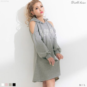 The white lavender gray black black and white plain fabric M L Lady's dream prospects 0227 ◆ 02/27 shipment plan when food bijou long sleeves casual clothes are pretty in dress LOVE shoulder difference sweat shirt mini-spring