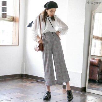 Checked pattern constant seller high waist wide underwear glen check spring commuting office black gray brown M L Lady's dream prospects 0110 ◆ arrival finished with the underwear button