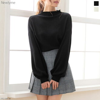 Knit tops silk touch bottleneck balloon sleeve rib volume cute black white beige gray Bordeaux black and white red plain fabric M L Lady's dream prospects 1220 ◆ 12/28 shipment plan in the fall and winter