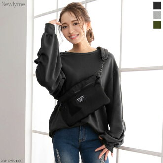 The black white gray pink beige khaki lilac black and white plain fabric M L Lady's dream prospects that a volume dropped shoulder sleeve crew neck rib has a cute in tops tax Reeve over size sweat shirt spring