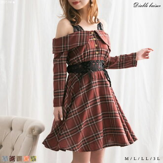 Pink yellow check glen check M L Lady's dream prospects 0123 yes in spring beige dress checked pattern オフショル the lah that is cute in race flare waist shape decollete knee