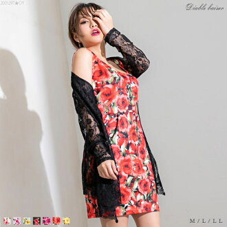 The dress original printed pattern no pickpocket white pink green black cherry pink red yellow black and white saffron handle M L LL Lady's dream prospects 0323 ◆ 04/03 shipment plan which boat neck decollete no sleeve tight Short has a cute in the summer