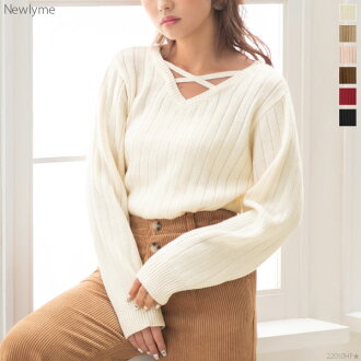 Ivory beige pink brown Bordeaux black black and white plain fabric M L Lady's dream prospects ◆ arrival finished in spring trendy in knit sweater tops cross design rib V neck figure cover Shin pull autumn