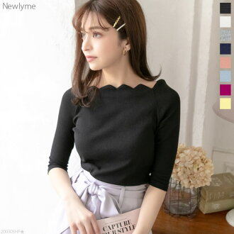 The cut-and-sew scallop shell neck five minutes sleeve rib tops black white gray navy pink blue yellow lavender plum pink black and white blue plain fabric M L Lady's dream prospects 0321 ◆ 04/03 shipment plan that decollete fitting of superior grade sho