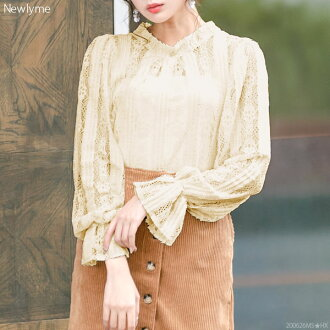 Blouse tops stand collar stripe race feminine ribbon Candice Reeve long sleeves white pink beige black black and white M L Lady's dream prospects ◆ arrival finished in the fall and winter