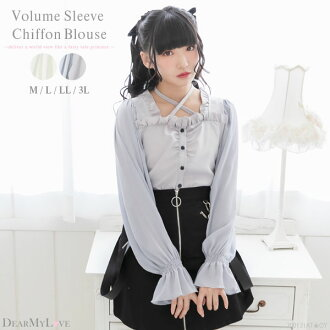 The blouse tops chiffon sleeve cute puff sleeve Shin Gurley pull bustier square neck young lady white gray black plain fabric black and white M L LL 3L Lady's dream prospects