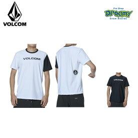 VOLCOM ボルコム メンズ ラッシュガード Apac Euro Corpo SS RG 50+UVカット ラッシュTシャツ 半袖 ロゴ N01119G1 WHB BLK 2019 SPRING モデル 正規品