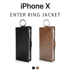 iPhoneX ケース DreamPlus ENTER RING JACKET 手帳型 ドリームプラス エンターリングジャケット アイフォン カバー お財布付きケース リング付き お取り寄せ