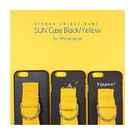 iPhone XS ケース iPhone XR ケース iPhone 8 ケース 韓国 ベルト ケース iPhone 8 Plus iPhone X 韓国 ベルト ケース SECOND UNIQUE NAME YOUNG BOYZ SUN CASE 正規商品 Black Yellow アイフォン シリーズ