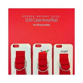 iPhone XS ケース iPhone XR ケース iPhone 8 ケース 韓国 ベルト ケース iPhone 8 Plus iPhone X SECOND UNIQUE NAME Ivory Red アイボリー レッド ベルト スリム ハード ケースカバー アイフォンシリーズ メーカー正規商品 セカンドユニークネーム