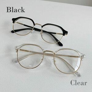メガネ クリアメガネ レディース ウェリントン 伊達 だて 鼻あて 透明 クリア 黒 ブラック 韓国 ファッション