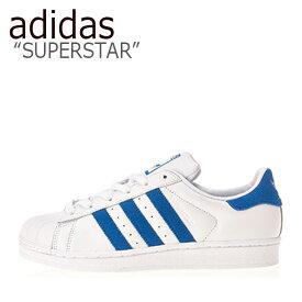アディダス スーパースター スニーカー adidas メンズ レディース SUPERSTAR スーパースター WHITE BLUE ホワイト ブルー EE4474 シューズ 【中古】未使用品