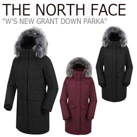 ノースフェイス ダウン THE NORTH FACE レディース W'S NEW GRANT DOWN PARKA ニュー グラント ダウンパーカ BLACK ブラック WINE ワイン NJ1DJ81J/K ウェア 【中古】未使用品