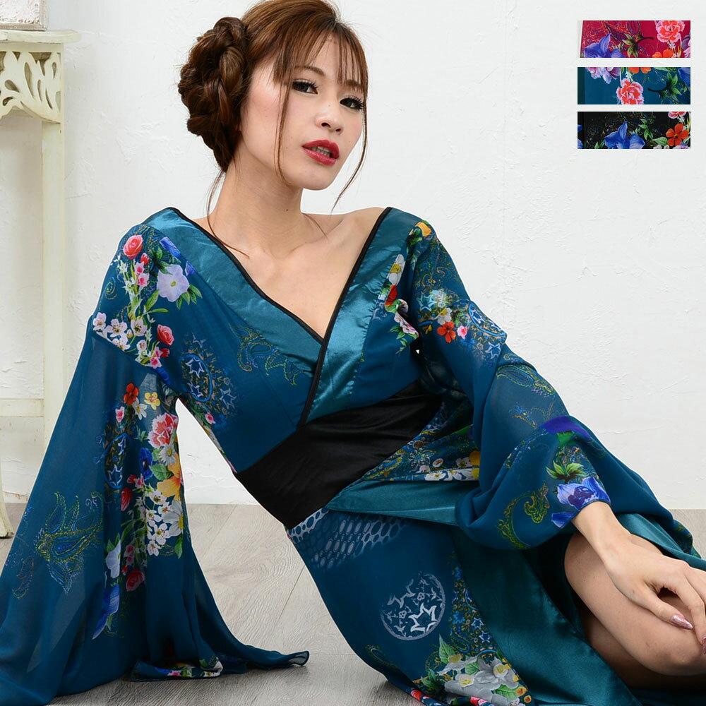 着物ドレス 花魁 コスプレ衣装 浴衣 祭り 送料無料 和風花柄Vカットシフォンロング着物ドレス 和服 ロングドレス キャバドレス 衣装