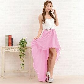 a506d618502d3 ドレス ロングドレス キャバ レディースワンピース 送料無料 バイカラーテールカットロングドレス 結婚式