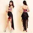 キャバドレス ドレスキャバ セクシー ロングドレス パーティードレス レターパック発送で送料無料 セール 2Way花柄ヴェール重ねスカラップカットインナーミニロングドレス