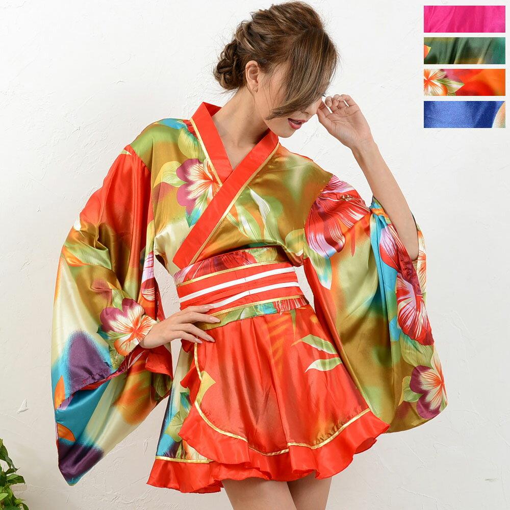 着物 ドレス 浴衣 和柄 ゆかた 花魁 衣装 舞台衣装 ミニドレス グラデーションフラワーゴールドパイピングフリルサテン着物ミニドレス