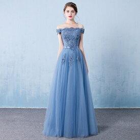 ウエディングドレス 二次会 カラー ブルー フラワー 前撮り 結婚式 披露宴 二次会 フォトウエディング ハネムーンフォト おしゃれ