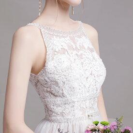 ウエディングドレス 二次会 ノースリーブ ナチュラル フェミニン 前撮り 結婚式 披露宴 二次会 フォトウエディング ハネムーンフォト レース おしゃれ