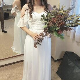 ウエディングドレス 二次会 シフォン ビーチドレス 前撮り 結婚式 披露宴 二次会 フォトウエディング ハネムーンフォト レース フォーマル おしゃれ
