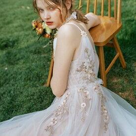 ウエディングドレス 二次会 Vネック チュール レース 前撮り フォトウエディング 披露宴 結婚式