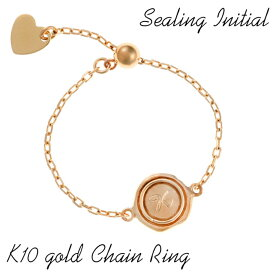 イニシャル リング チェーンリング レイヤードリング K10(10金) 数字 ナンバー スライド付き フリーサイズ 10K gold イエローゴールド ring 指輪 レディース プレゼント プレゼント 結婚祝い 出産祝い ギフト モバナナ