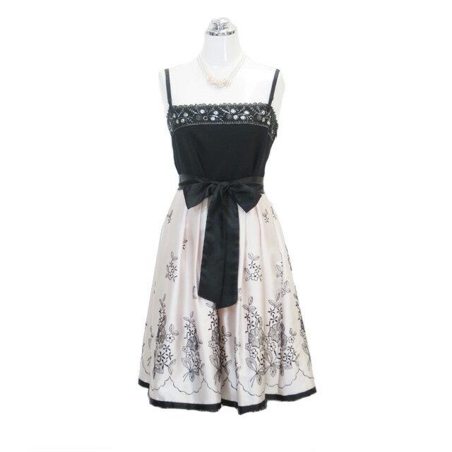 サテン刺繍ドレス ベージュ 9号 Mサイズ パーティードレス フォーマルドレス P31