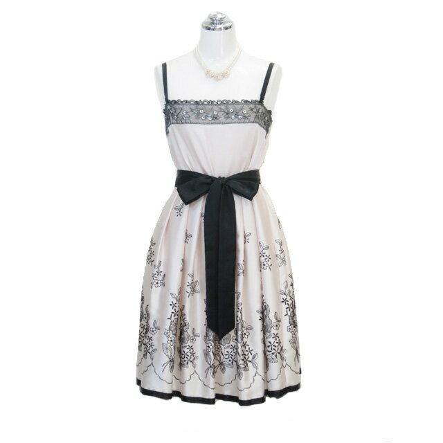 サテン刺繍ドレス ベージュ 9号 Mサイズ パーティードレス フォーマルドレス P32