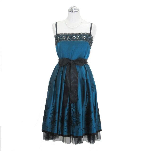 サテン刺繍ドレス ブルー 9号 Mサイズ パーティードレス フォーマルドレス P34