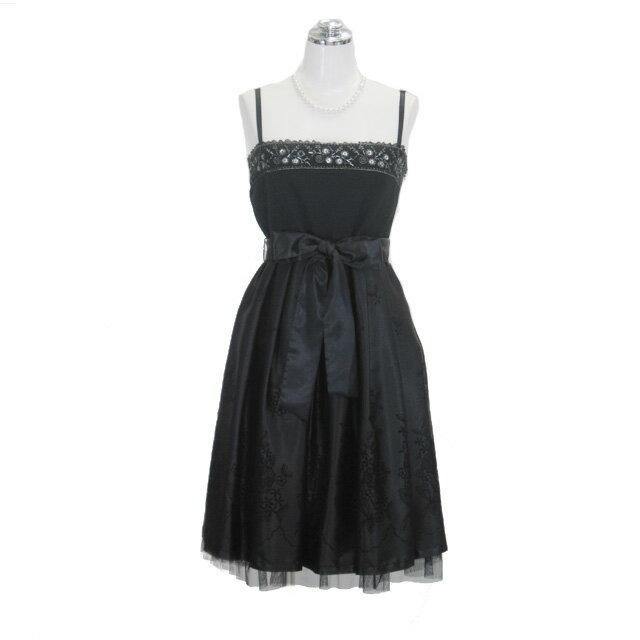 サテン刺繍ドレス ブラック 9号 Mサイズ パーティードレス フォーマルドレス P35