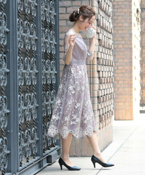 結婚式ドレス七分半袖パーティーお呼ばれレースフォーマルロングミモレ丈大きいサイズパーティードレス二次会披露宴ロングスカートハイウエストレースアップ編み上げピンクネイビーグレーブラック