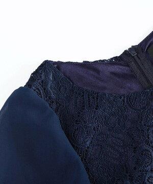 結婚式ワンピース薄手パーティードレス大きいサイズ結婚式ワンピース結婚式ドレスミニワンピースシフォンフリル袖あり体型カバーレースワンピース上品エレガントIラインベーシックトレンドビビットカラーシンプル服きれいめ夏レディースファッション