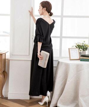 結婚式パンツドレス2wayセットアップドッキングフリルロングレディース袖あり袖黒ブラック茶ベージュブラウン青ネイビー大きいサイズお呼ばれ二の腕体型カバー