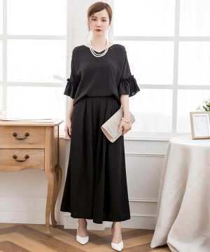 結婚式パンツドレス2wayセットアップドッキング大きいサイズフリルロングレディース袖あり半袖袖黒ブラック茶ベージュブラウン青ネイビーお呼ばれ二の腕体型カバー無地シンプルパンツスーツ