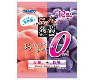 送料無料 オリヒロ ぷるんと蒟蒻ゼリーカロリーゼロ 白桃+巨峰 18gパウチ×12個×12袋入 ※北海道・沖縄・離島は別途送料が必要。