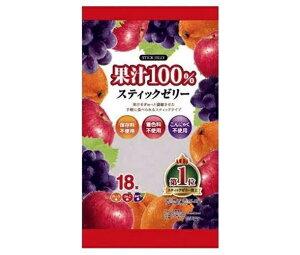 【送料無料・メーカー/問屋直送品・代引不可】リボン 18本果汁100% スティックゼリー 18本×12袋入 ※北海道・沖縄・離島は配送不可。